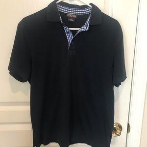 MICHAEL KORS | Navy polo shirt checkered neckline